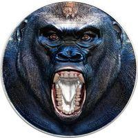 """Танзания 1500 шиллингов 2019г. """"Редкая дикая природа: Западная Горилла"""". Монета в капсуле; подарочном футляре; номерной сертификат; коробка. СЕРЕБРО 62,20гр.(2 oz)."""