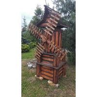 Декоративная мельница из натурального дерева - сосна.