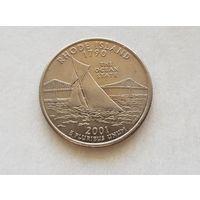 25 центов США 2000 г. штат Род-Айленд P