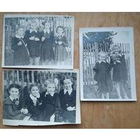 Три фото девочек-второклассниц. 1957 г. 9х12 см. Цена за все