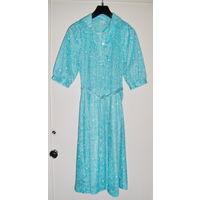 Платье с коротким рукавом,голубое, р.46-48