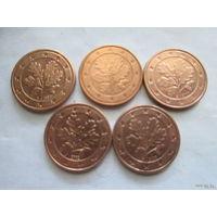 1 евроцент, Германия 2002 г., A+D+F+G+J