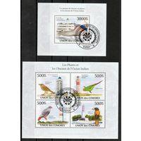 Птицы и маяки Индийского океана Коморы 2009 год серия из 2-х блоков