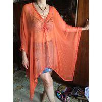 Накидка для пляжа и не только Pedro del Hierro Испанский модный бренд премиального класса люкс цвет оранжевый Натуральный шелк
