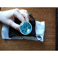 Анальная пробка. большая 95*40 мм, металл, голубой камень, новая