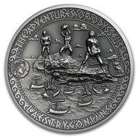 """Соломоновы острова 5 долларов 2018г. """"Путешествия Одиссея: Лестригоны"""". Монета в капсуле; подарочном футляре; сертификат; коробка. СЕРЕБРО 62,27гр.(2 oz)."""