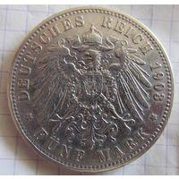 Германия Пруссия 5 марок 1903 !! АКЦИЯ !! Праздничная СКИДКА ко дню Защитника Отечества!! до 26 февраля!