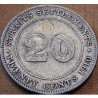 25. Поселение Стрэйт 20 центов 1910 год, серебро*