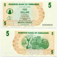 Зимбабве. 5 долларов (образца 2006 года, P38, UNC)