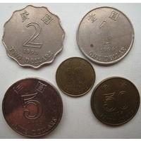 Гонконг 10 центов 1994, 50 центов 1998, 1 доллар 1994, 2 доллара 1993, 5 долларов 2013 гг. Цена за комплект (u)