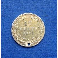 Нидерланды 10 центов 1901. Редкость