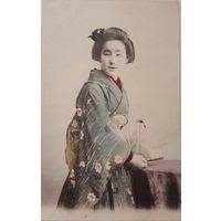 Открытка. Япония до 1917. Девушка в кимоно