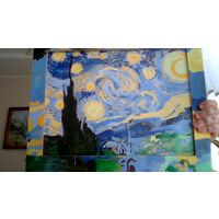 Продаю картину нарисованную мною без номеров а чисто с контурами рисунка Ван Гога звездная ночь