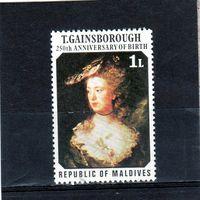 """Мальдивы. Ми-702. Живопись. """"Miss Anne Ford"""" художник Thomas Gainsborough (1727-1788).250 лет со дня рождения.1977."""