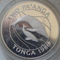 40. Королевство Тонга 2 паанга 1986 год, серебро*