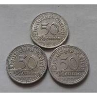 50 пфеннигов, Германия 1920 + 1921 + 1922 г., A