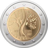 2 евро Эстония 2017  100 лет независимости UNC из ролла
