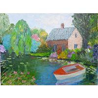 """Картина маслом """"Дом у реки"""" мастихин (400х300х20) холст на подрамнике"""