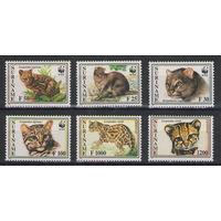 Суринам WWF Дикие коты 1995 год чистая полная серия из 6-ти марок