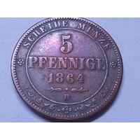 Саксония 5 пфеннигов 1864 В.