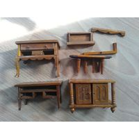 Мебель игрушки для кукольного домика, дерево. винтаж..