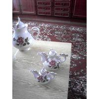 Набор из 3 чайников для заварки с  рисунком пурпурная роза СССР