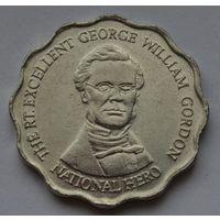 Ямайка 10 долларов, 1999 г. (Форма-круг с волнообразным краем).
