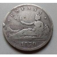 Испания 2 песеты 1870 г.