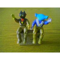 Подвижные фигурки злодеев злой расы рулонов из мультика Погонщики динозавров (Dino-Riders): Демон и Шестижаберный (Demon & Six-Gill action figure) 1987 TYCO +фиолетовый злодей. Marvel (возможен обмен)