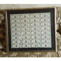 Лист 2-х долларовых банкнот 2003г. серия A. Не разрезанный! В рамке.