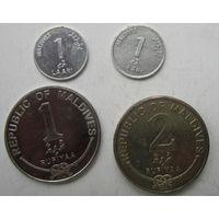 Мальдивы. Лари и руфии 2+2. 4 штуки .104