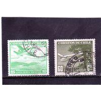 Чили. Mi:CL 265,456. Самолет и дерево. Самолет и горное озеро.Серия: Воздушная почта. 1941.