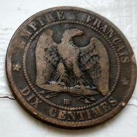 Франция 10 сантимов, 1865 BB - Страсбург 2-5-3