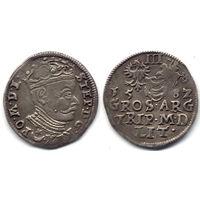 Трояк 1582, Стефан Баторий, Вильно. Старая патина, коллекционное состояние, R