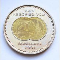 """Австрия, медаль 2001 год, """"монеты Австрии 1925-2001, Цветные"""" - 40мм"""