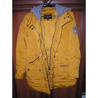Натуральный пуховик-куртка со съемным капюшоном 42 +/- р