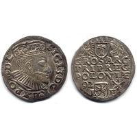 Трояк 1592, Сигизмунд III Ваза, Познань. Ав - широкий портрет, Рв - дата слева. Остатки штемпельного блеска под патиной