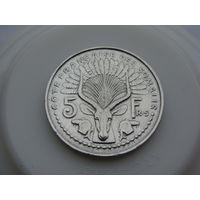 "Сомали. ""Французское""  5 франков 1959 год KM#10"