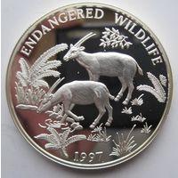 Лаос. 1000 кип 1997. Косули. Серебро (87)