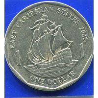 Карибские Острова 1 доллар 2002