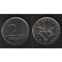 Венгрия km693 2 форинта 1997 год (h02)