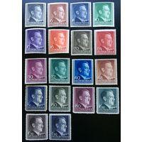 Германия, III Рейх,  генерал-губернаторство Польша, Гитлер (портрет), серия 18 марок, Ми 71-91, 1941 год.