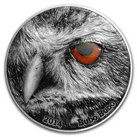 "Конго 2000 франков 2014г. ""Глаз природы: Филин Bubo Bubo"". Монета в капсуле; подарочном футляре; сертификат; коробка. СЕРЕБРО 62,27гр.(2 oz)."