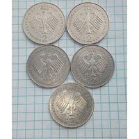Германия 2 марки  Курт Шумахер 1989 -D-F-1990-D-1991 -F-J- цена за 1 монету.