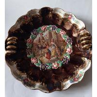 Блюдо тарелка ручное золочение настенная Бельгия старинная