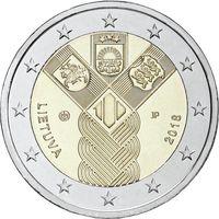2 евро 2018 Литва 100-летие независимости прибалтийских государств UNC