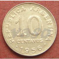 6305: 10 сентаво 1956 Аргентина КМ# 51 никель