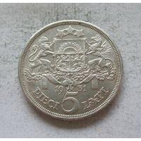 Латвия Первая республика 5 лат 1931 - серебро, состояние!