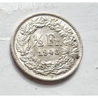 Швейцария 1/2 франка, 1948 Ag 5-1-28