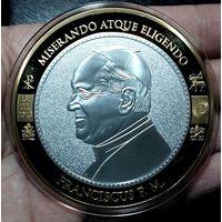 ВАТИКАН медаль 2013 год, серебрение+позолота, 70 мм.